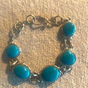 """Silver & turquoise bracelet approx 8"""""""
